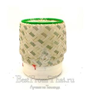 Бамбуковая коробочка с плетеной крышкой