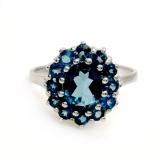 Серебряное кольцо с натуральным лондон топазом 0038-R-TL