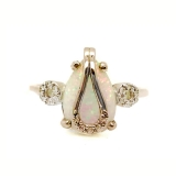 Серебряное кольцо с натуральным белым опалом 0929-R-OW