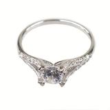 Серебряное кольцо с природным кубическим кварцем SE005-R-CZ