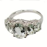 Серебряное кольцо с природным зеленым аметистом 0002-R-GQ