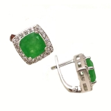 Серебряные серьги зеленым нефритом 0462-E-GJ