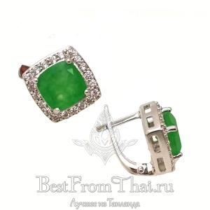 Серебряные серьги с зеленым нефритом 0462-E-GJ