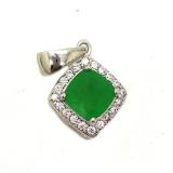 Серебряный кулон с зеленым нефритом 0462-P-GJ