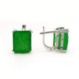 Серебряные серьги зеленым нефритом 1023-E-GJ