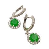 Серебряные серьги зеленым нефритом 1024-E-GJ