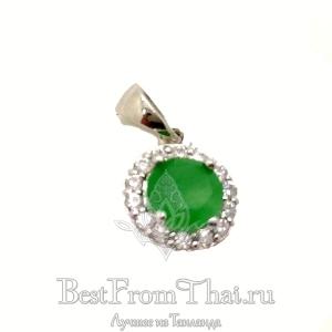 Серебряный кулон с зеленым нефритом 1024-P-GJ