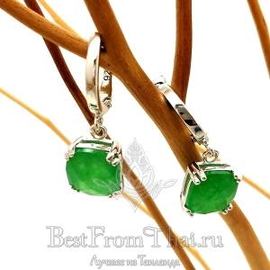Серебряные серьги c зеленым нефритом 1019-E-GJ