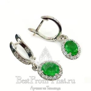 Серебряные серьги c зеленым нефритом 1028-E.1-GJ
