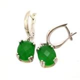Серебряные серьги c зеленым нефритом 1006-E.1-GJ