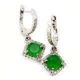 Серебряные серьги c зеленым нефритом 0263-E-GJ