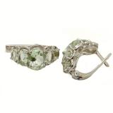 Серебряные серьги с зеленым аметистом 0002-E-GQ