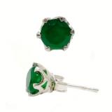 Серебряные серьги-гвоздики с зеленым агатом 0242-E-GО