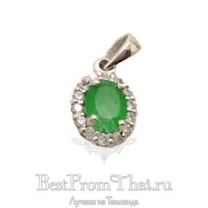 Серебряный кулон с зеленым нефритом 1028-P-GJ