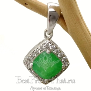 Серебряный кулон с зеленым нефритом 0263-P-GJ