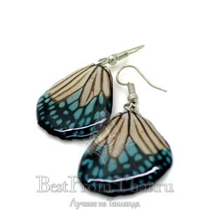 Серьги из крыльев бабочки сине-белые