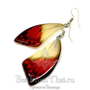 Серьги из крыльев бабочек бело-оранжевые