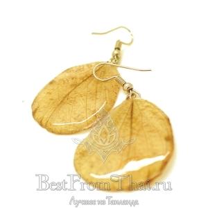 Серьги из крыльев бабочки желтые