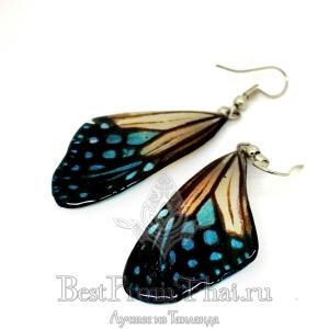 Сережки из крыльев бабочки сине-белые, острые