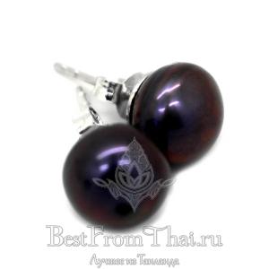 Серьги пусеты черный (фиолетовый)жемчуг
