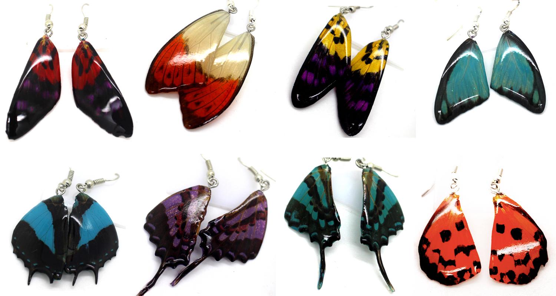 серьги из крыльев бабочек