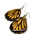 серьги из крыльев бабочек желтые